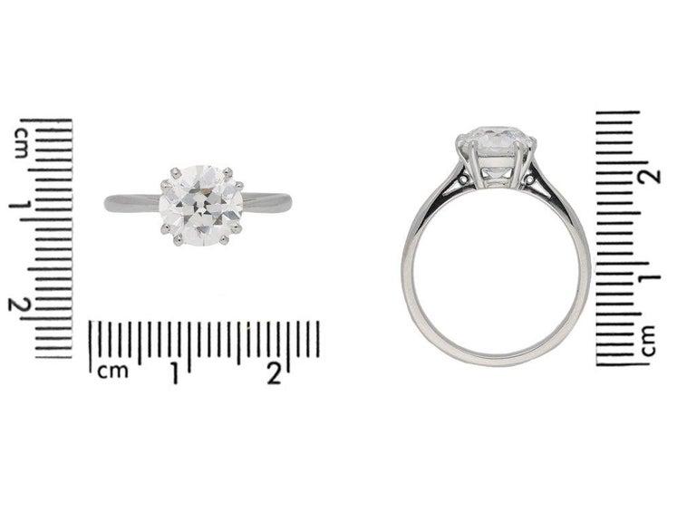 Women's 1950s 2.03 Carat Solitaire Old Cut Diamond Platinum Ring  For Sale