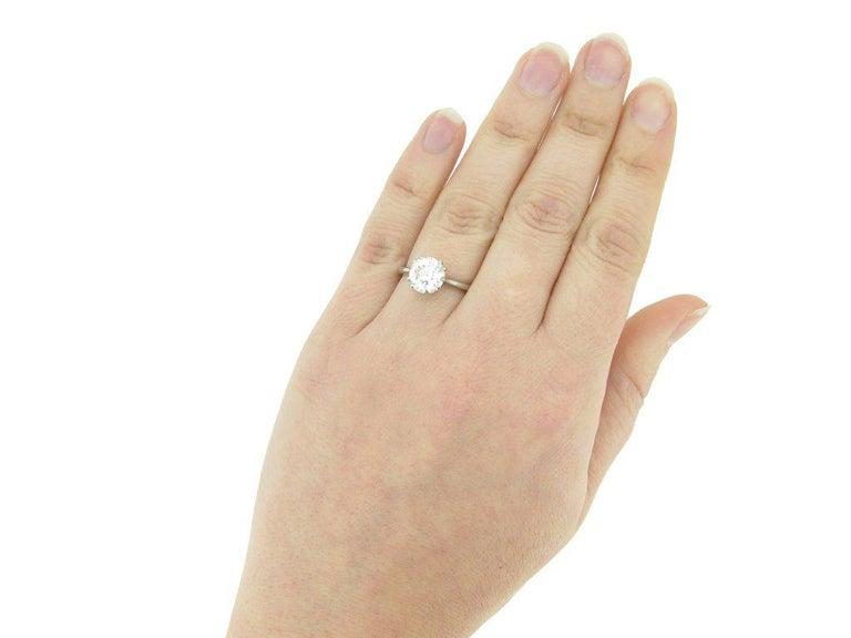 1950s 2.03 Carat Solitaire Old Cut Diamond Platinum Ring  For Sale 2