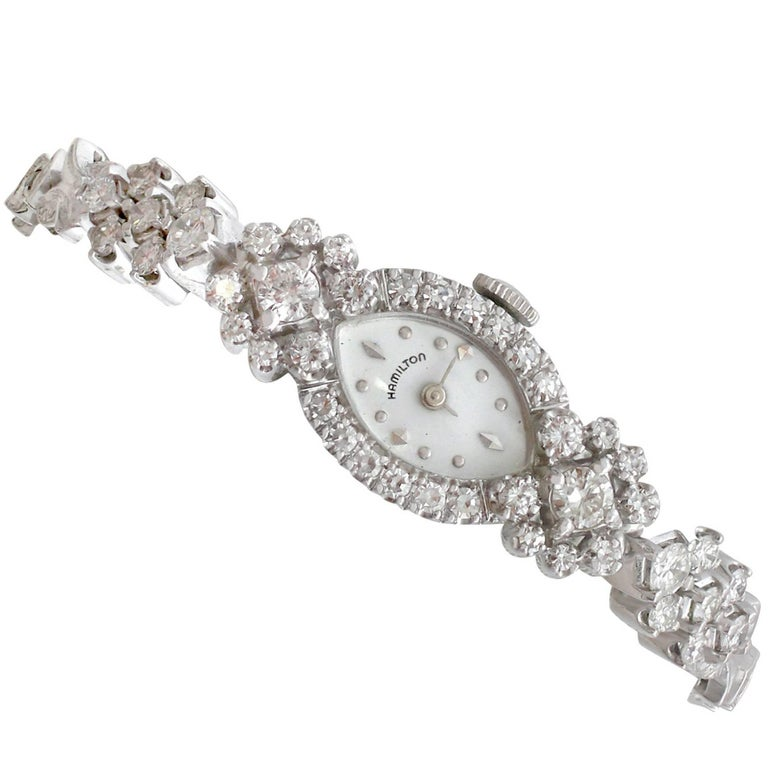 1950s 2.06 Carat Diamond and White Gold Ladies Cocktail Watch