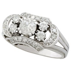 1950s 2.20 Carat Diamond and White Gold Cocktail Ring