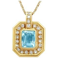 1950s 2.49 Carat Aquamarine Diamond Yellow Gold Pendant