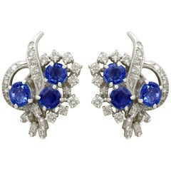 1950s 2.60 Carat Sapphire and 2.73 Carat Diamond White Gold Stud Earrings