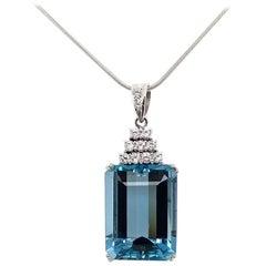 1950s 26.29 Carat Aquamarine and Diamond Pendant in Platinum