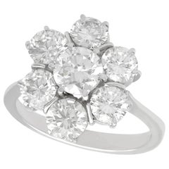 1950s 2.68 Carat Diamond and White Gold Cluster Ring