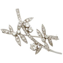 1950s 2.71 Carat Diamond and White Gold Floral Brooch