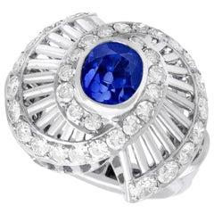 1950s 2.82 Carat Ceylon Sapphire and 1.95 Carat Diamond Platinum Dress Ring