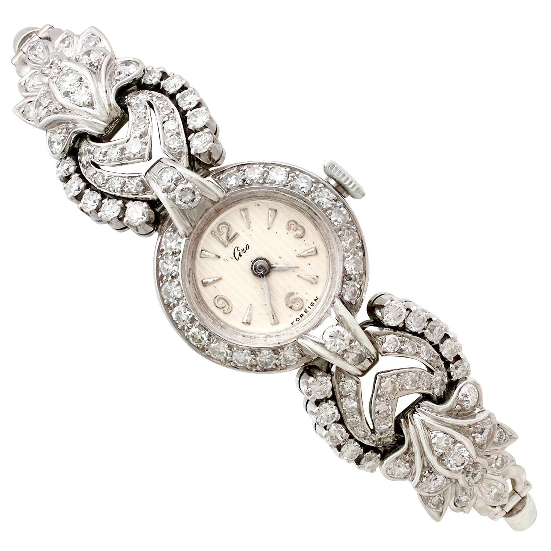 1950s 2.92 Carat Diamond and Platinum Cocktail Watch