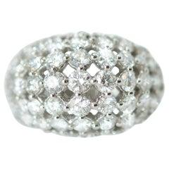 1950s 2.94 Carat Diamond and 18 Karat White Gold Dome Ring