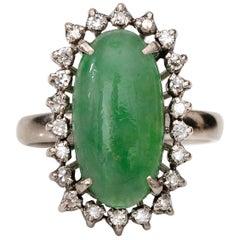 1950s 3 Carat Jade and Diamond Ring