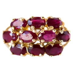 1950s 3 Carat Total Ruby and 14 Karat Yellow Gold Cluster Cocktail Ring
