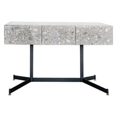 "1950s 3 Drawers Console Covered with Italian ""Ceppo"" Stone"
