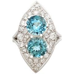 1950s 3.03 Carat Aquamarine and 1.42 Carat Diamond White Gold Marquise Ring
