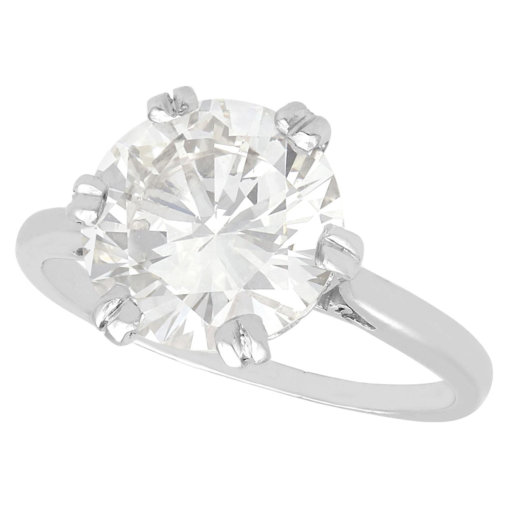 1950s 3.03 Carat Diamond and Platinum Solitaire Ring