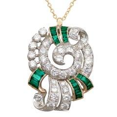 1950s 3.06 Carat Diamond and Emerald Yellow Gold Pendant