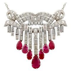 1950s 3.10 Carat Ruby and 4.29 Carat Diamond Platinum Drop Necklace