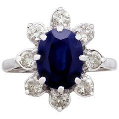 1950s 3.10 Carat Sapphire and Diamond Cocktail Ring