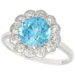 1950s 3.21 Carat Zircon and Diamond White Gold Cluster Ring