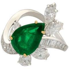 1950s 3.23 Carat Emerald and 3.91 Carat Diamond Platinum Dress Ring