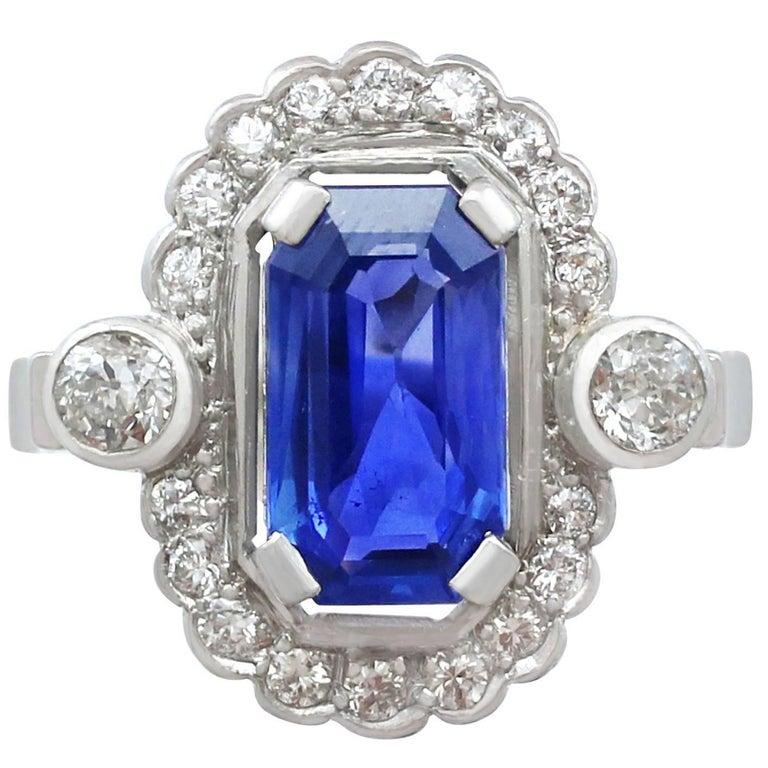 1950s 3.29 Carat Ceylon Sapphire Diamond 18 Karat Gold Platinum Cocktail Ring