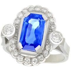 1950s 3.29 Carat Ceylon Sapphire Diamond White Gold and Platinum Cocktail Ring