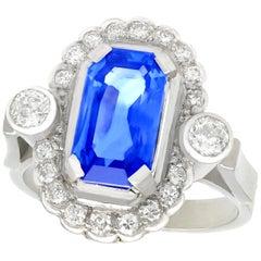1950s 3.29 Carat Ceylon Sapphire Diamond White Gold and Platinum Cocktail Ring