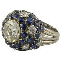 1950s 3.42 Carat Diamond and Sapphire Cocktail Ring