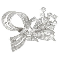 1950s 3.43 Carat Diamond and Platinum Spray Brooch