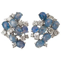 1950s 3.5 Carat Total Diamond and Sapphire Clip-On Earrings for Non Pierced Ears