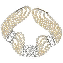 1950s 3.50 Carat Diamond Cultured Pearl Platinum Choker Necklace