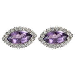 1950s 4 Carat Total Amethyst Platinum Earrings