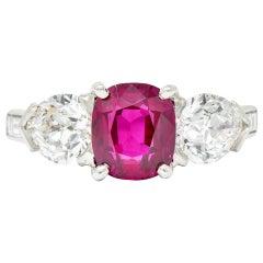 1950s 4.06 Carat Unheated Burmese Ruby Diamond Platinum Three-Stone Ring AGL