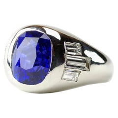 Men's Sapphire and Diamond Ring in Platinum Circa 1950s Is Sleek and Iconic