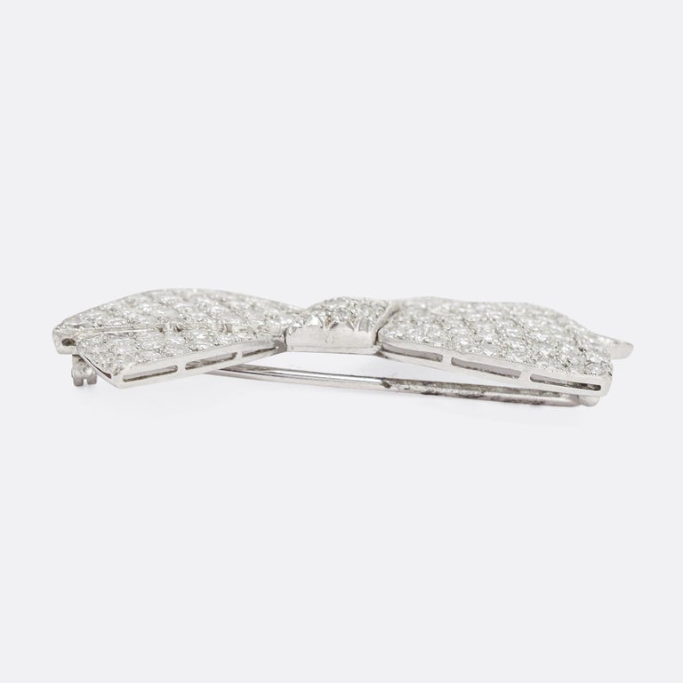 Round Cut 1950s 4.75 Carat Diamond Bow Brooch For Sale