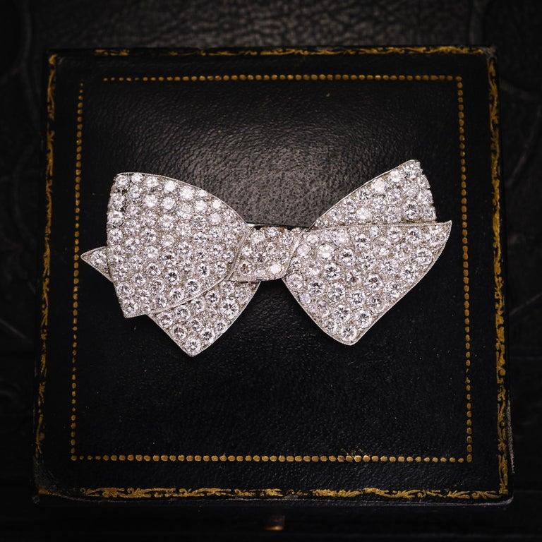 Women's or Men's 1950s 4.75 Carat Diamond Bow Brooch For Sale