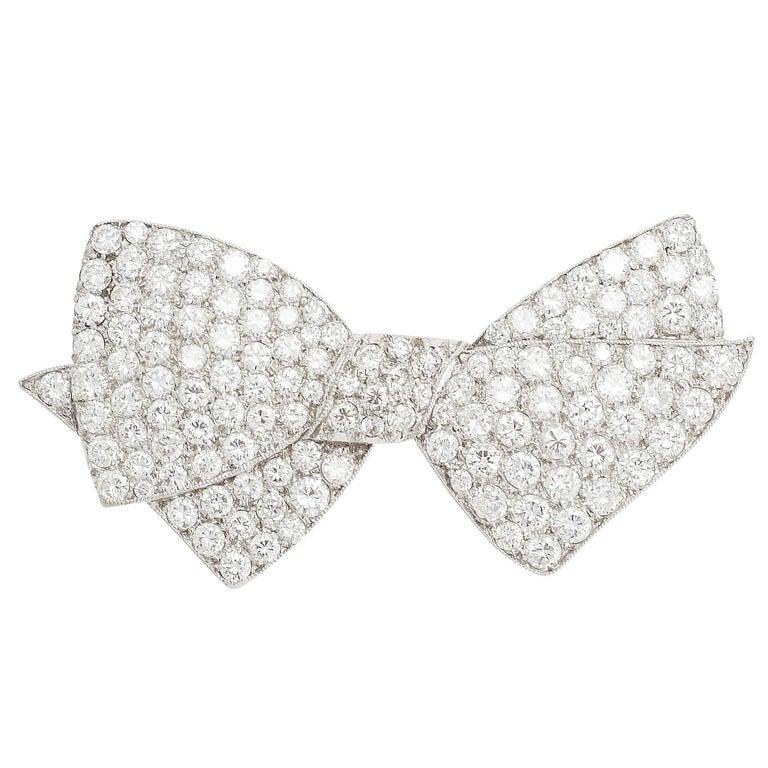 1950s 4.75 Carat Diamond Bow Brooch For Sale