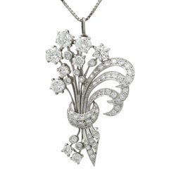 1950s 4.98 Carat Diamond and Platinum Flower Spray Brooch / Pendant