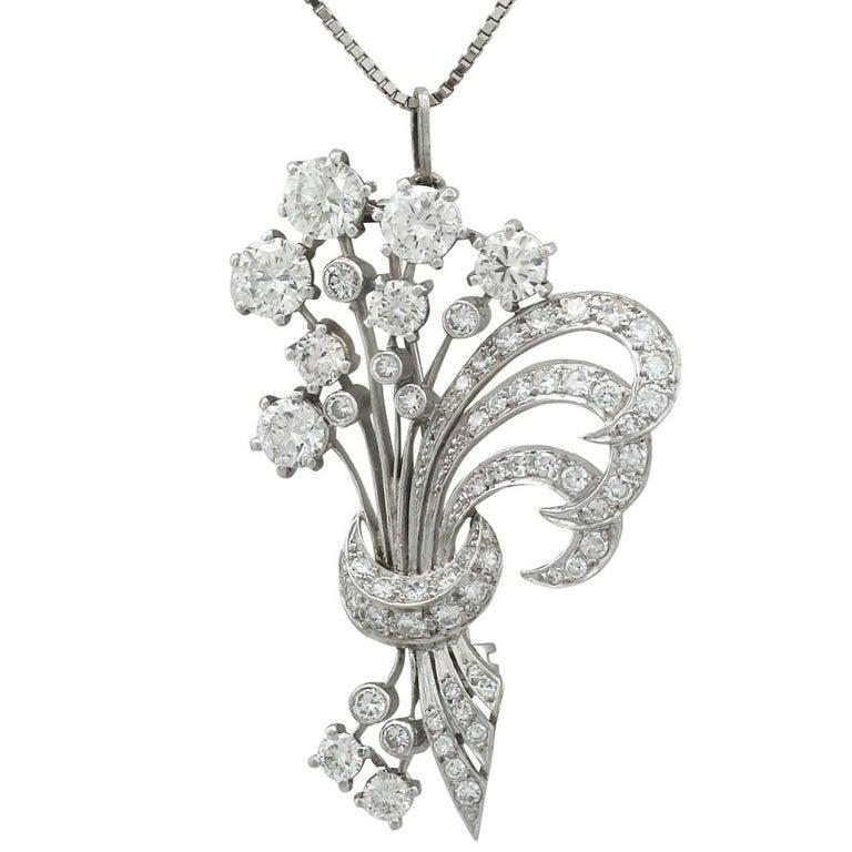 1950s 4.98 Carat Diamond and Platinum Flower Spray Brooch / Pendant