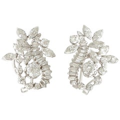 1950s 5 Carat Diamond and Platinum Earrings