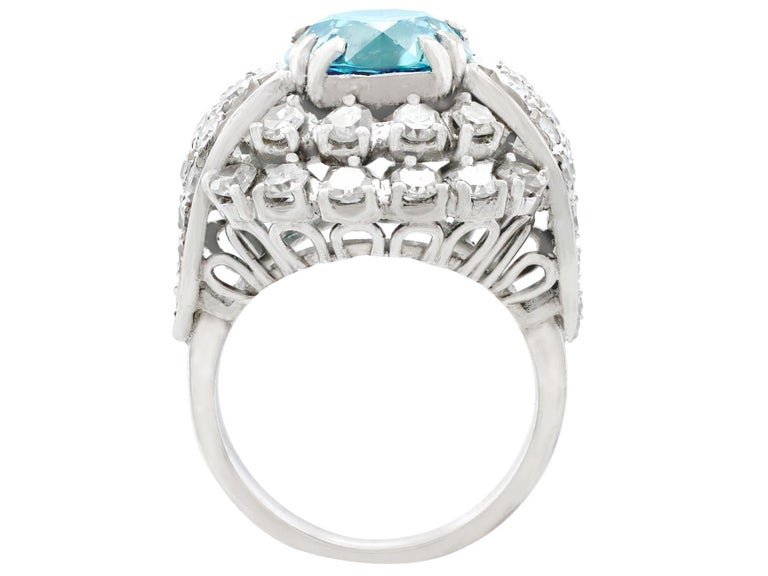 1950s 5.70Ct High Zircon and 3.15Ct Diamond White Gold Cocktail Ring For Sale 1