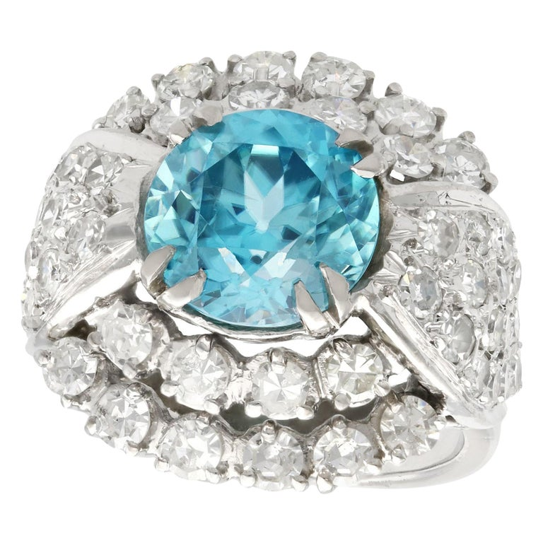 1950s 5.70Ct High Zircon and 3.15Ct Diamond White Gold Cocktail Ring For Sale