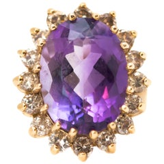 1950s 6 Carat Amethyst Ring with Diamond Halo and 14 Karat Yellow Gold
