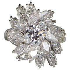 1950s 6.13 Carat Diamonds Gold Engagement Ring