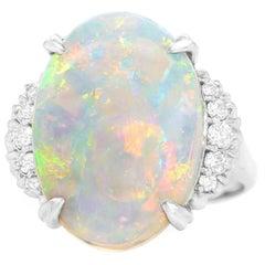 1950s 6.74 Carat Opal and Diamond-Set Ring