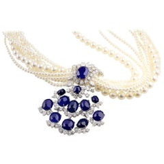 1950s 74.77 Carat Natural Unheated Burma Sapphire and Pearl Necklace