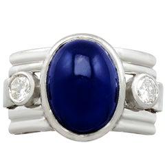 1950s 7.62 Carat Sapphire and Diamond Platinum Cocktail Ring