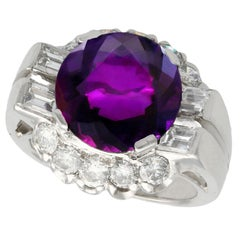 1950s 8.22 Carat Amethyst and 1.55 Carat Diamond Platinum Cocktail Ring