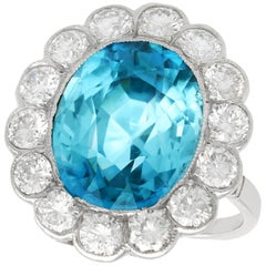 1950s 9.62 Carat High Zircon and 2.24 Carat Diamond Platinum Cluster Ring