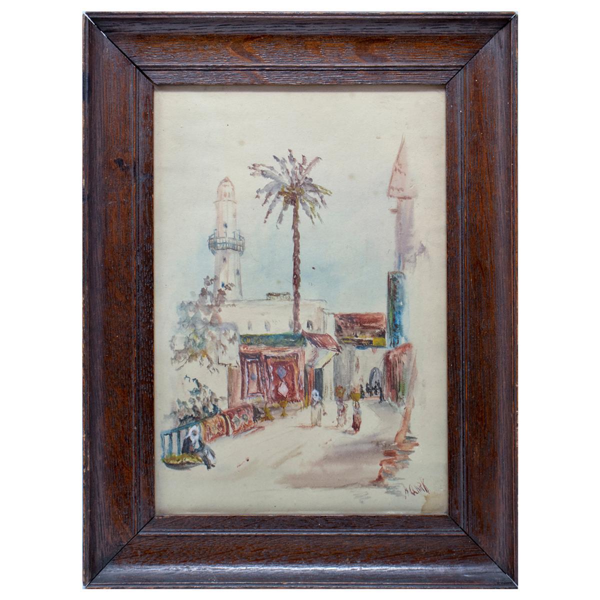 1950s A. Gark Orientalist Arab Souk Watercolor