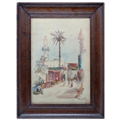 1950s A. Gark Orientalist Arab Souk Watercolor