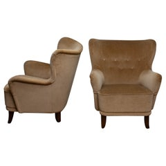1950s a Pair of Lounge Easy Club Chairs by Ilmari Lappalainen for Asko, Finland